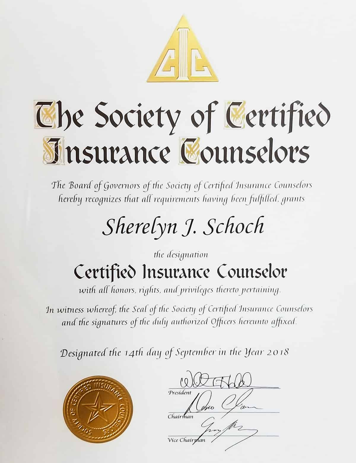 certificate cic designation yia means insurance clients agency